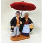 Santon couple sous le parapluie 6- 7cm